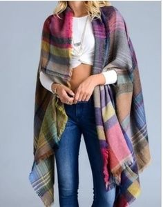 Sweaters - Plaid Colorful Poncho